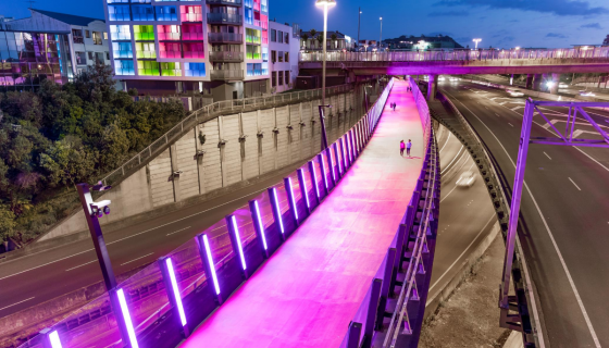 The pink cycling lane in Auckland called Nelson Street Cycleway