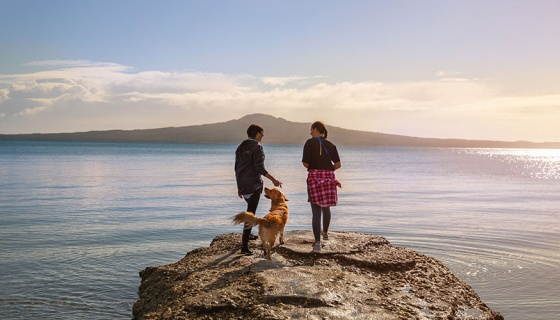 Two people and a dog on a rock at Kohimaramara beach looking out to Rangitoto Island