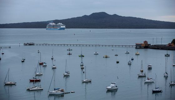 Cruise ship sailing past Rangitoto