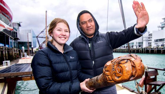 Piripi Taylor, who's the te reo voice of Māui, and Jaedyn Randell, the voice of Moana, on board the oceangoing waka Haunui